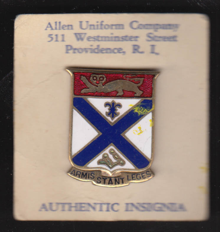169th US Army Infantry Regiment crest pin Allen Uniform Co Providence RI