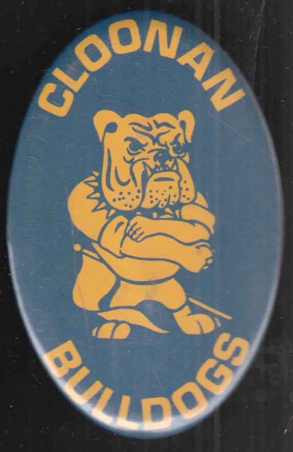 Cloonan Bulldogs athetlic teams pinback button Stamford CT ca 1950s