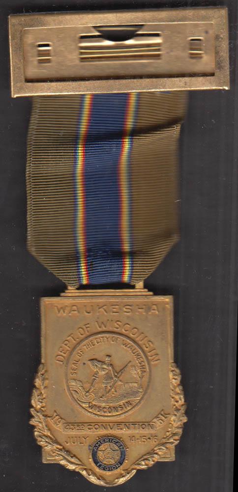 American Legion 43rd Convention badge & ribbon pinback Waukesha WI 1961