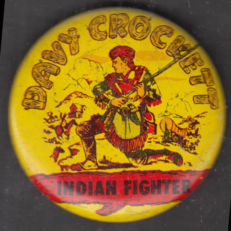"Davy Crockett Indian Fighter 1 3/8"" diameter pinback 1950s"