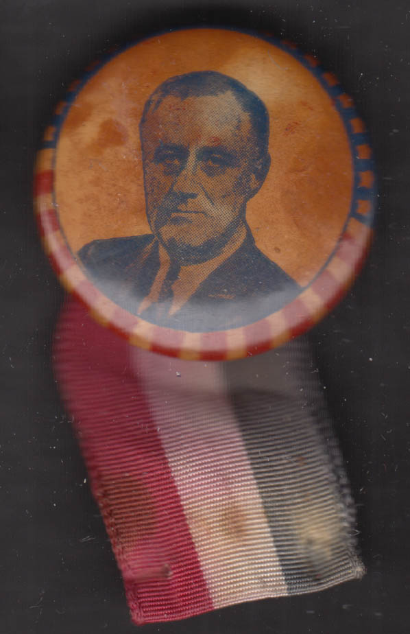 Franklin Delano Roosevelt FDR presidential campaign pinback with ribbon 1936