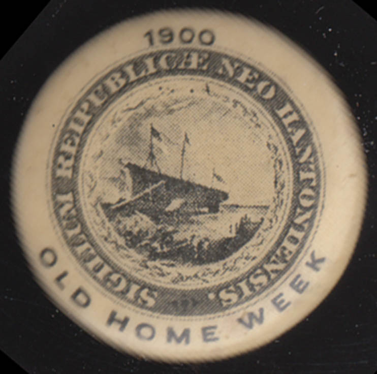 Sigillum Reipublicae Hantoniensis New Hampshire Old Home Week pinback 1900