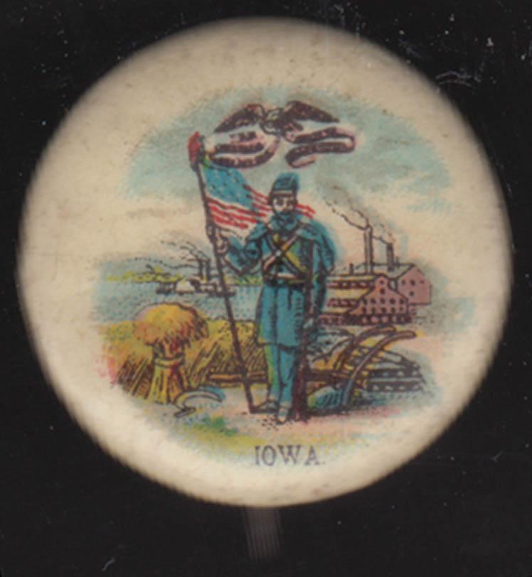 Sweet Caporal Cigarettes Civil War Iowa pinback ca 1920s