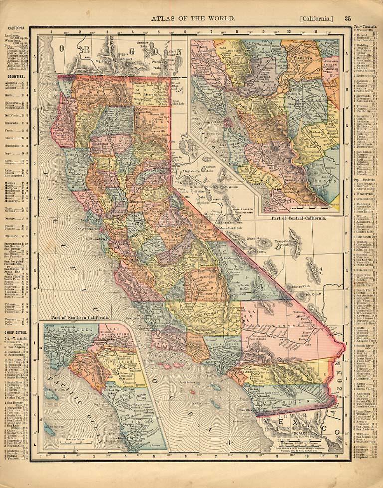 Cosmopolitan Rand McNally 1898 Map State of California w/ San Francisco detail