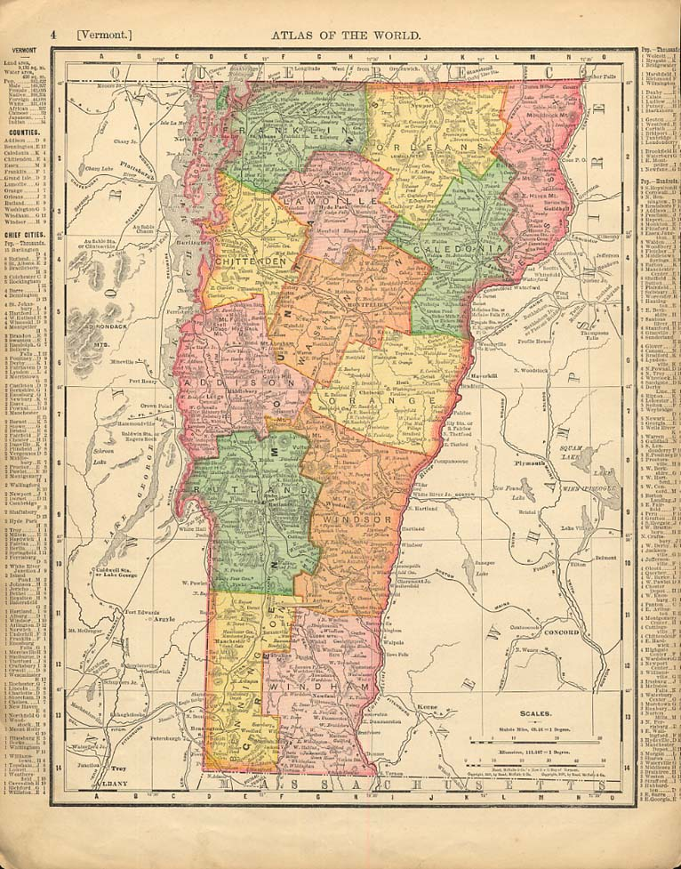 Cosmopolitan Rand McNally 1898 Map Vermont / New Hampshire w/ RR lines