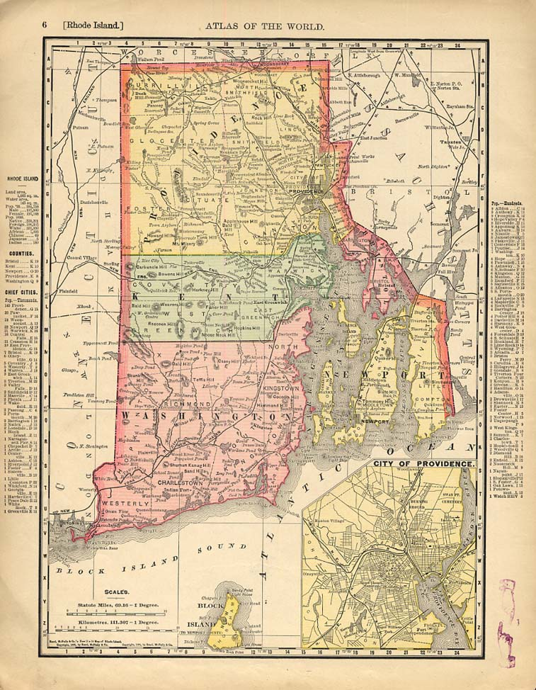 Cosmopolitan Rand McNally 1898 Map Rhode Island / Massachusetts w/ RR lines