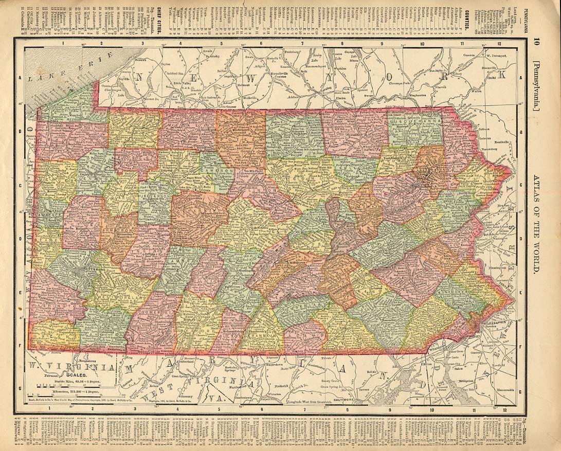 Cosmopolitan Rand McNally 1898 Map Pennsylvania / New Jersey w/ RR lines