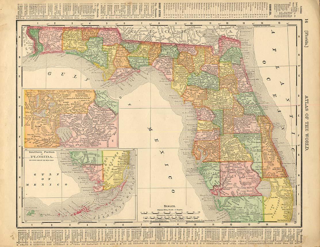 Cosmopolitan Rand McNally 1898 Map Florida / S Carolina & Georgia w/ RR lines