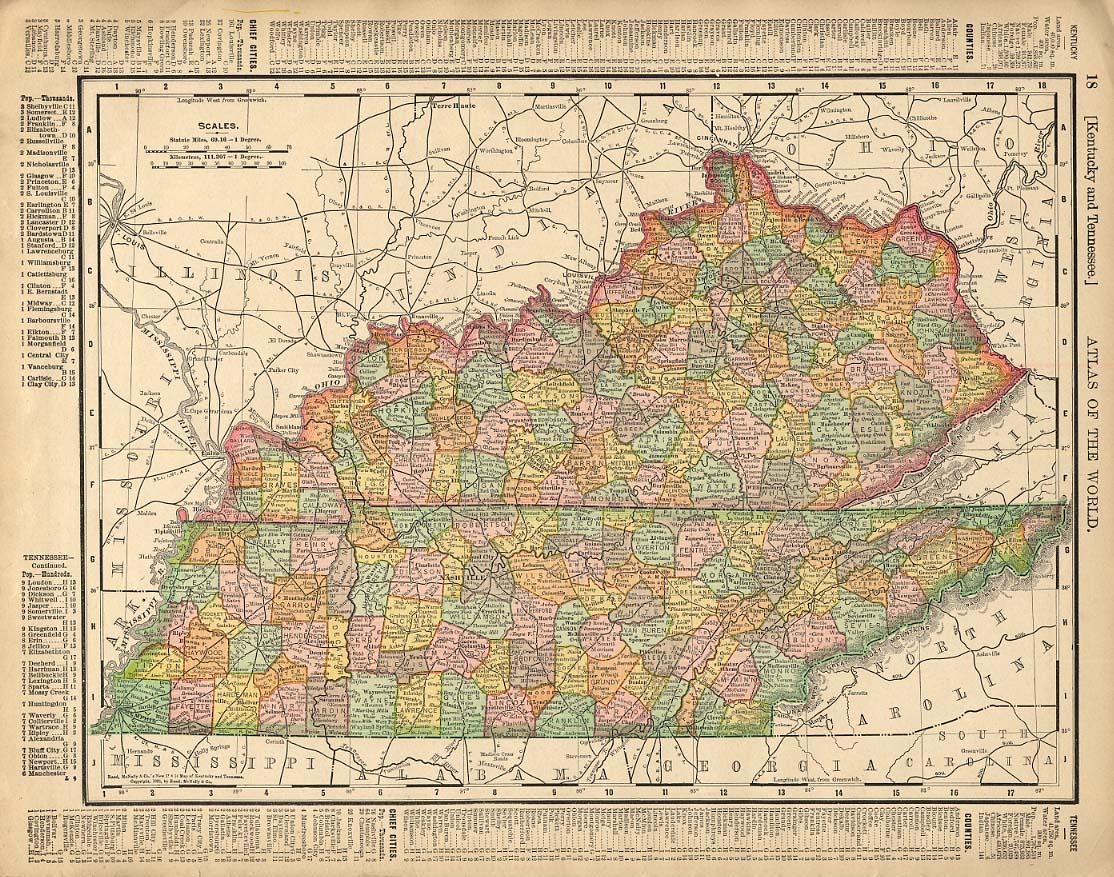 Cosmopolitan Rand McNally 1898 Map Kentucky & Tennessee / Mississippi & Alabama