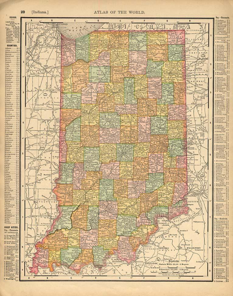 Cosmopolitan Rand McNally 1898 Map Indiana / Iowa w/ RR lines
