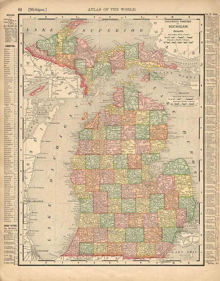Cosmopolitan Rand McNally 1898 Map Michigan / Illinois w/ RR lines