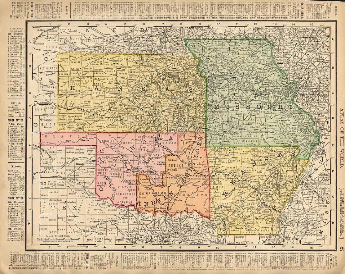 Cosmopolitan Rand McNally 1898 Map KS MO AR Oklahoma Indian Territory / LA