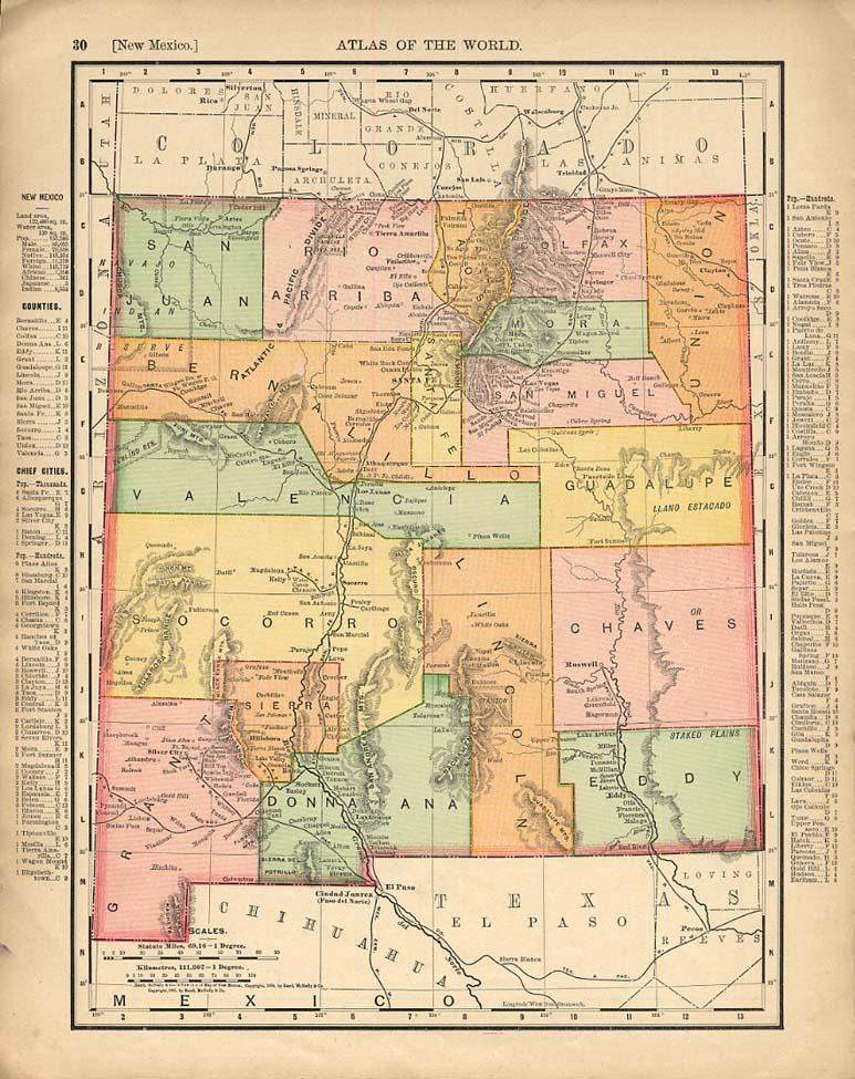 Cosmopolitan Rand McNally 1898 Map New Mexico / Texas w/ RR lines
