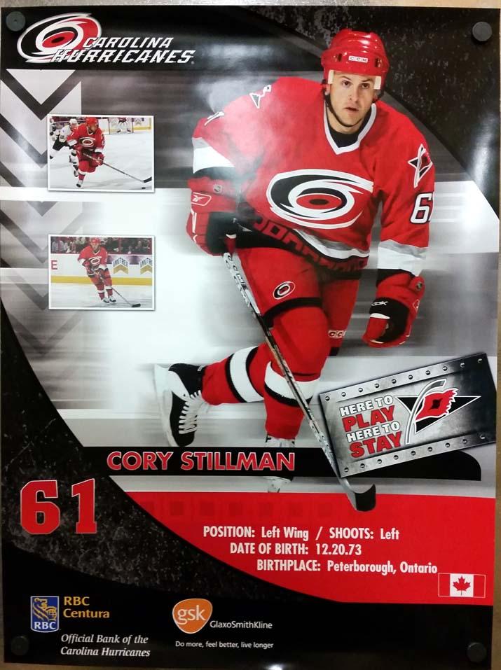 NHL Carolina Hurricanes Cory Stillman #61 color poster