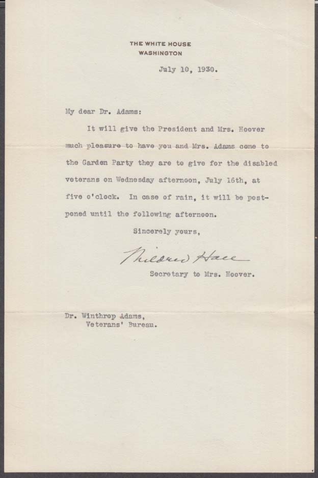 Mrs Herbert Hoover secretary Mildred Hall letter disabled vet garden party 1930