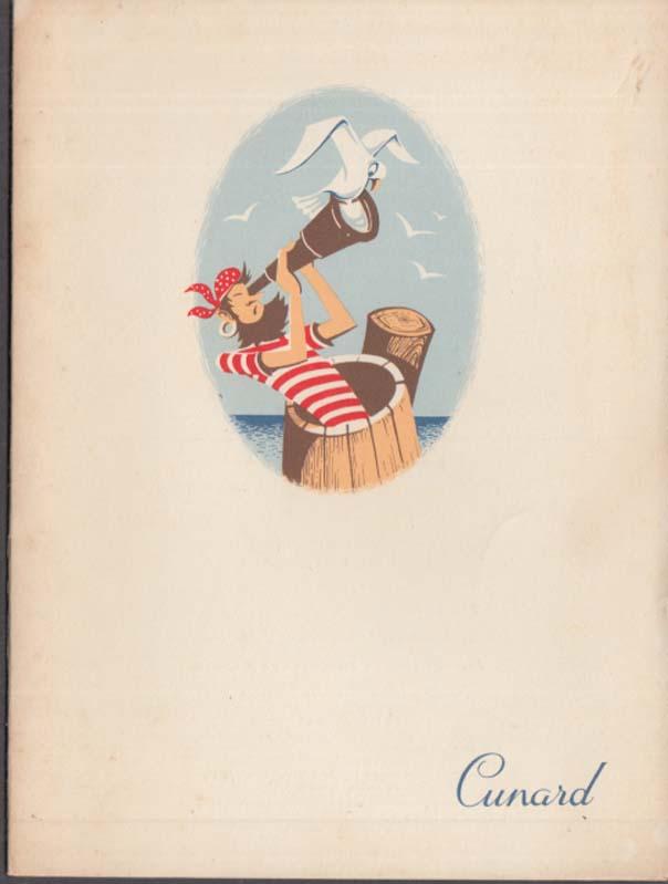 Cunard Line R M S Mauretania Dinner Menu 9/6 1958 in English & French