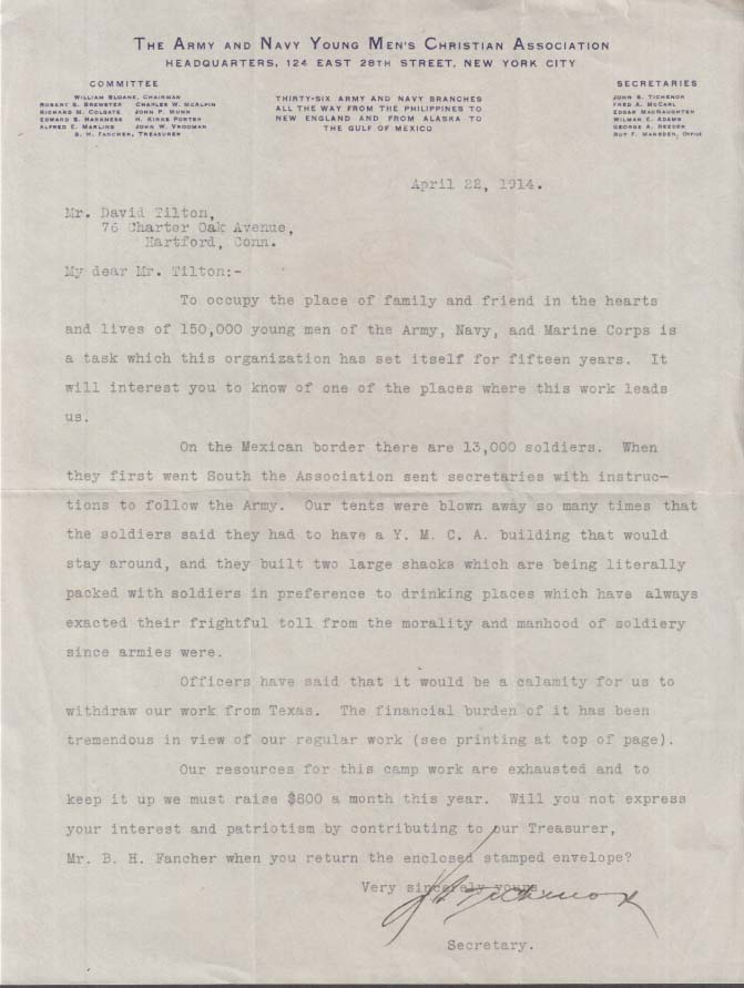 Army & Navy Young Men's Christian Assn fundraiser Mexican War letter 1914