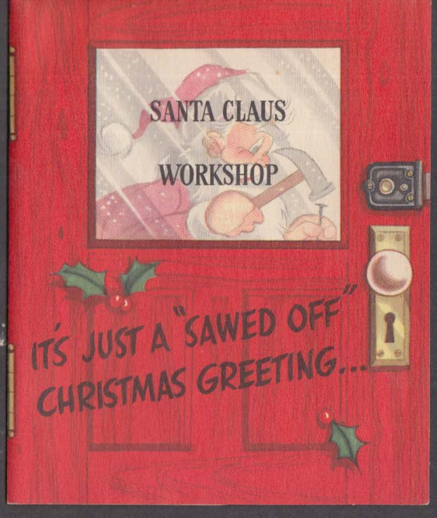 "Just a ""sawed off"" Christmas novelty joke greeting card 1950s unmarked"