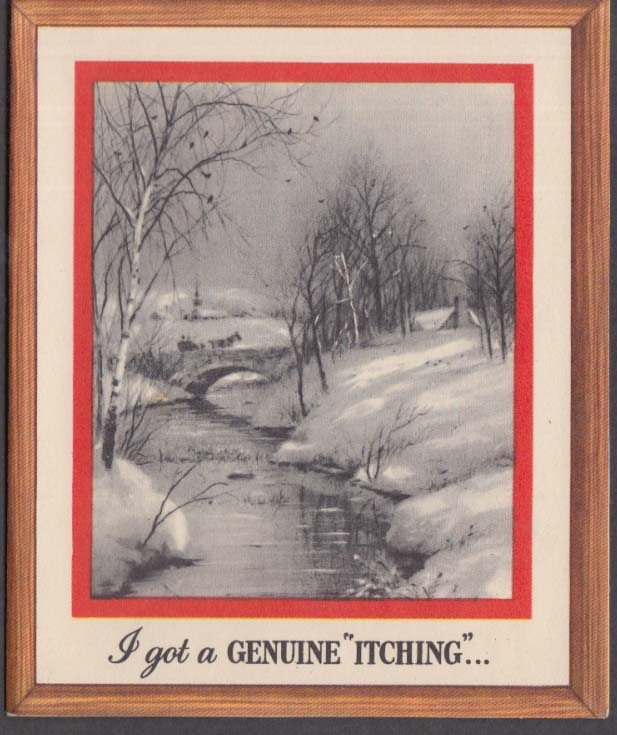 I got a genuine itching Santa Claus flock long johns joke Christmas Card 1950s