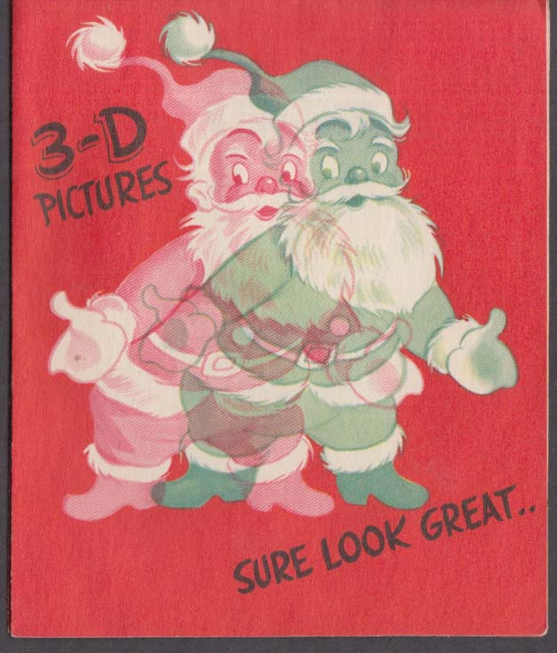 3-D Pictures sure look great Merry Christmas novelty card 1950s