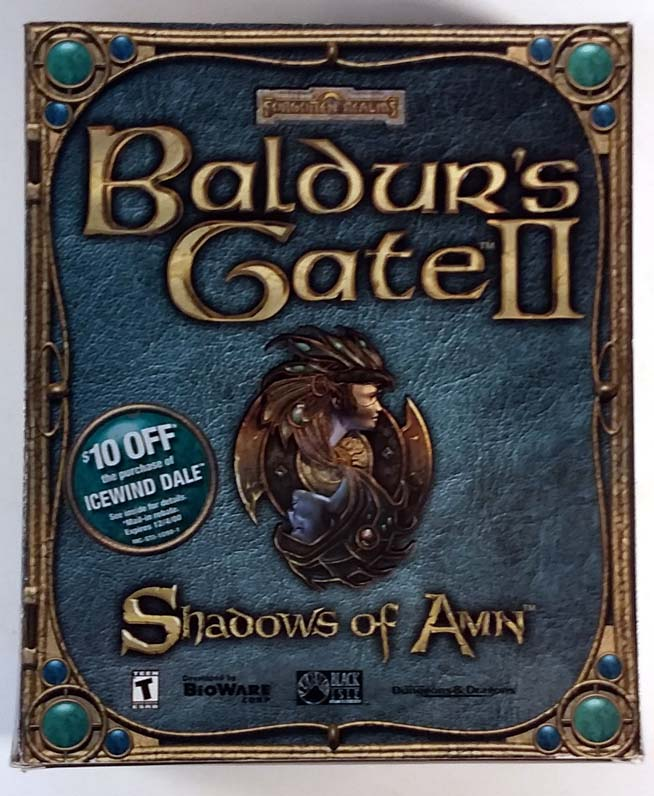 Forgotten Realms Baldur's Gate II Shadows of Amn 2000 Big Box PC Game 4 CD-ROM
