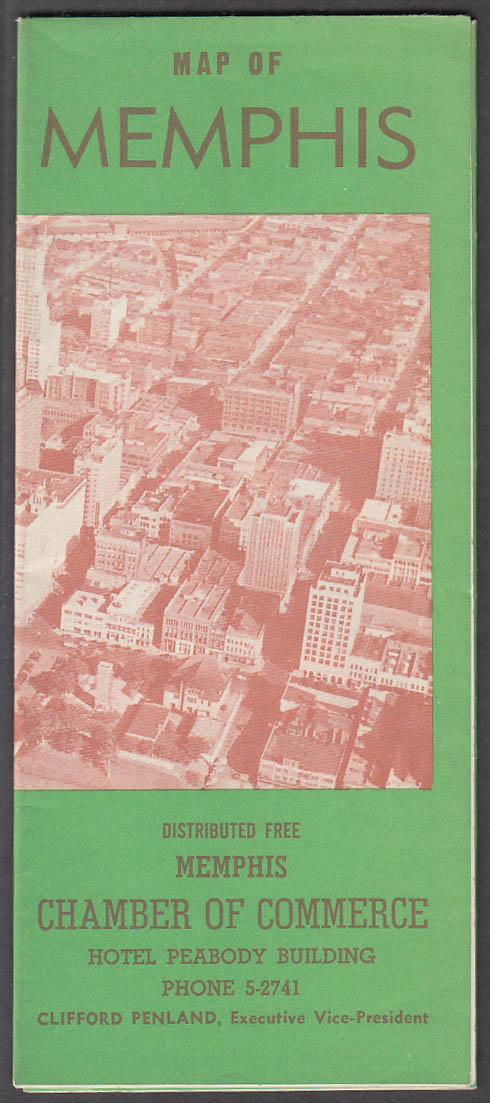 Chamber of Commerce Map of Memphis Tennessee 1952