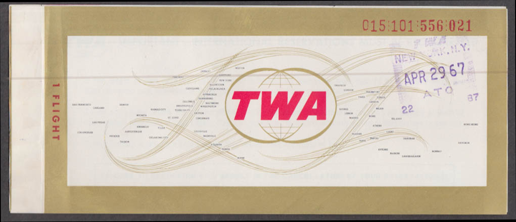 Trans World Airlines TWA flown ticket NYC-BDL Hartford 4/29 1967