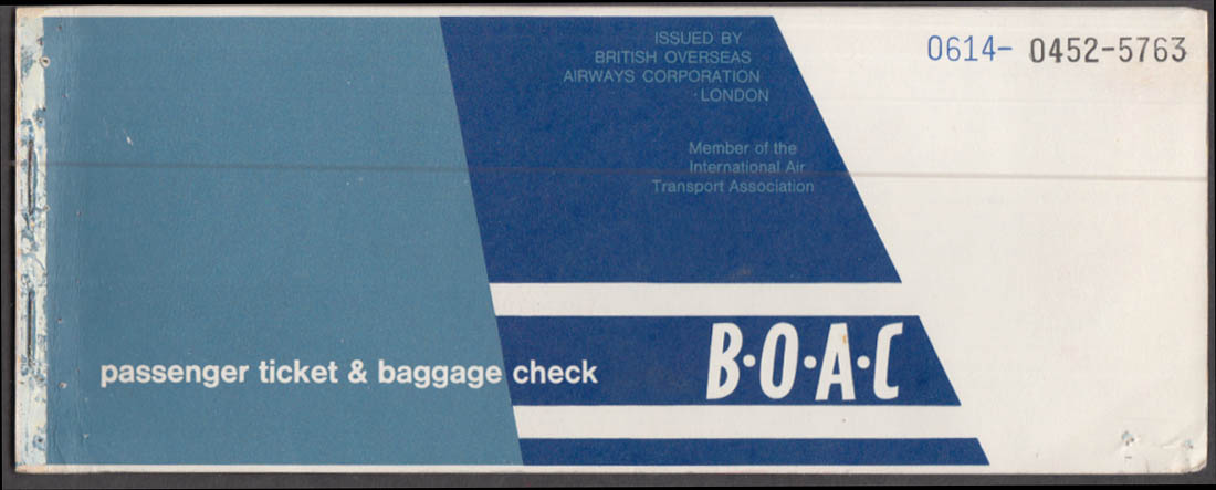 BOAC Airlines flown ticket & baggage check BDL-NY-Jamaica-Caymans 11/5 1964