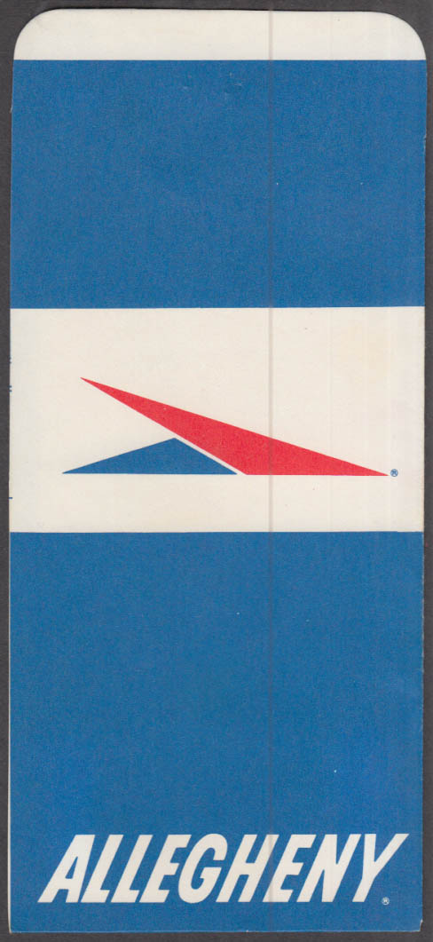 Allegheny Airlines flown ticket wrapper Pittsburgh-Philadelphia-BDL 1960s