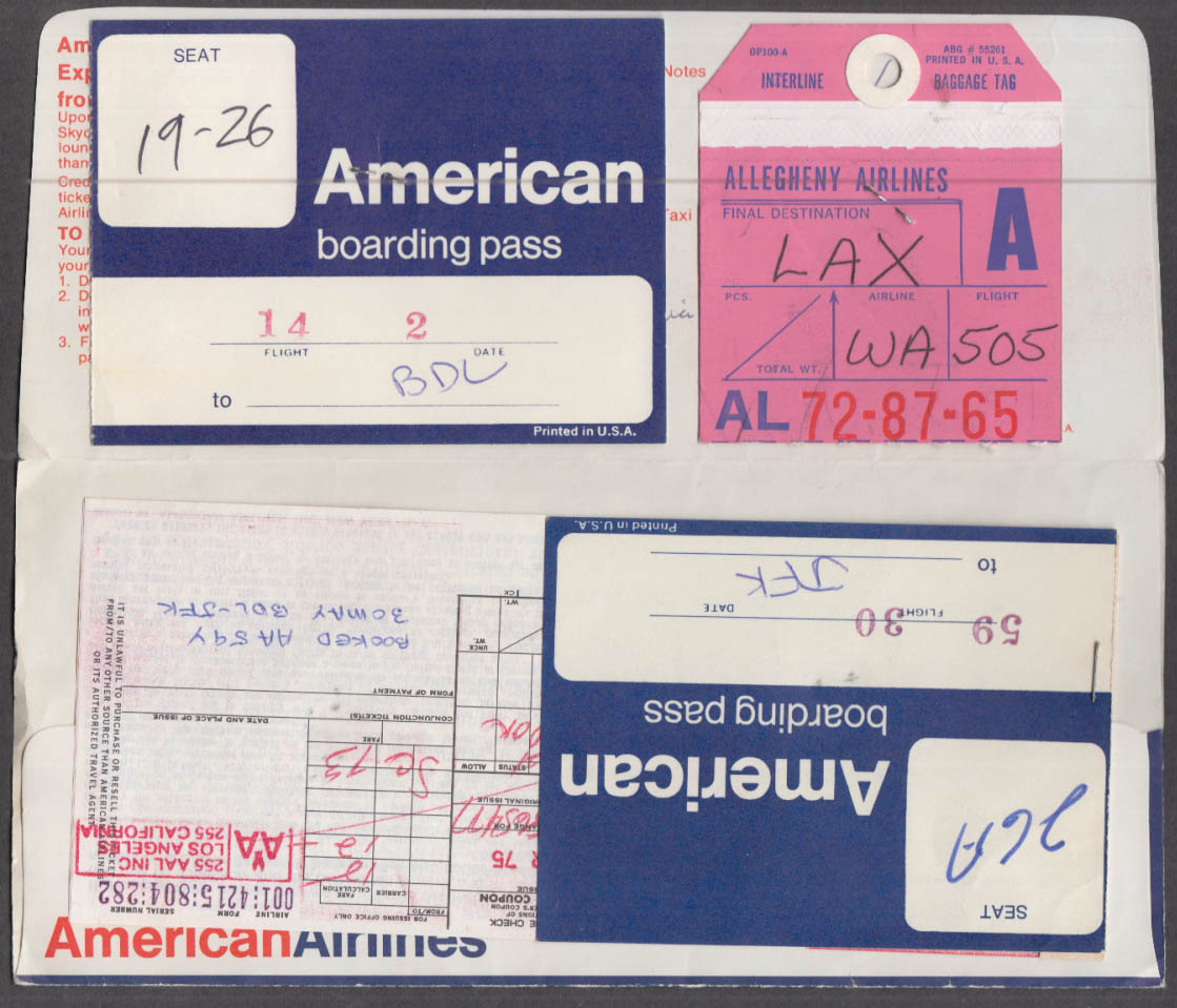 American Airlines flown ticket wrapper & boarding pass LAX-JFK-BDL 1975