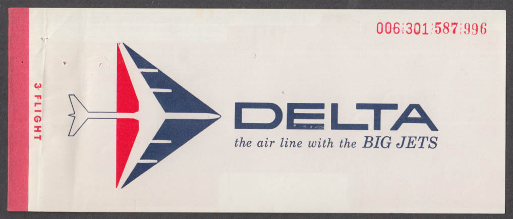 Delta Air Lines flown ticket NY-BDL-Newark-Charlotte 12/8 1967