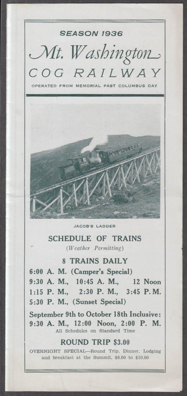 Image for Mt Washington Cog Railway Season 1936 Schedule New Hampshire