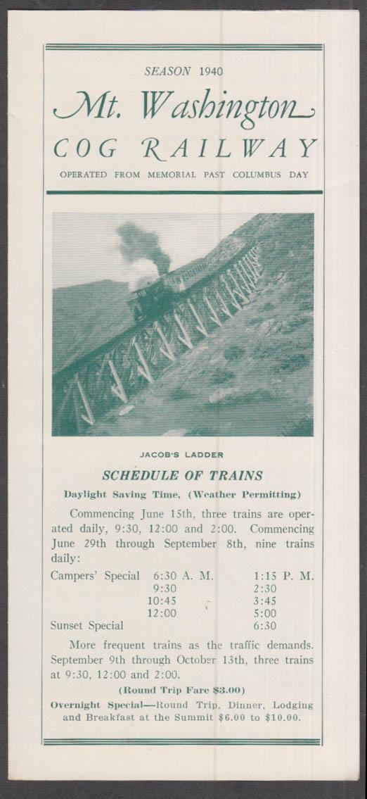 Image for Mt Washington Cog Railway Season 1940 Schedule New Hampshire