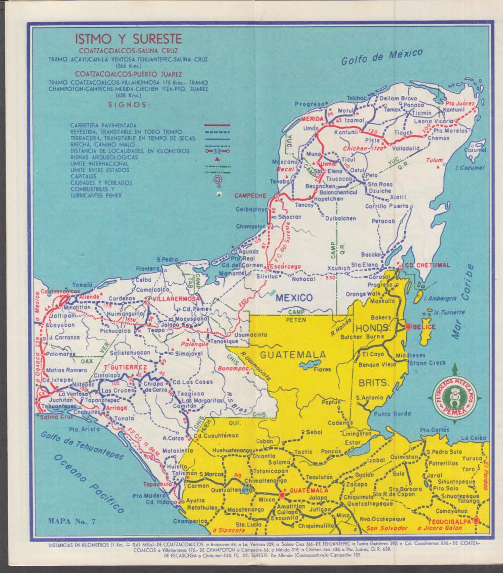 gasolmex pemex sol gasoline road map mexico 1958