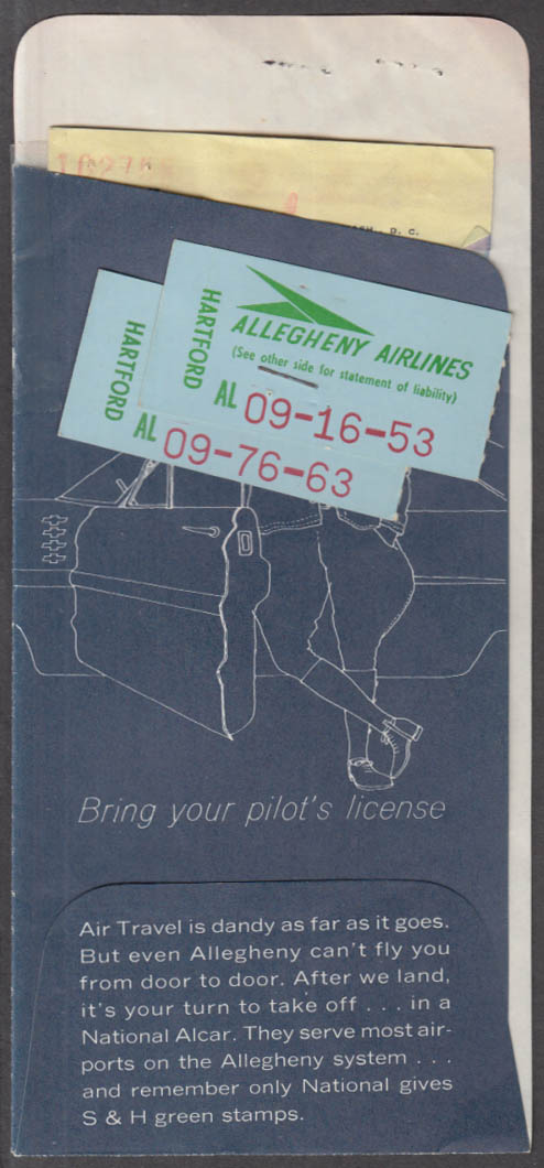 Allegheny Airlines flown ticket wrapper & ticket BDL-NY-BDL 1966 Convair 580
