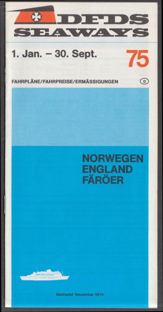 DFDS Seaways Norway England Faroe Islands Car Ferry Schedule 1975