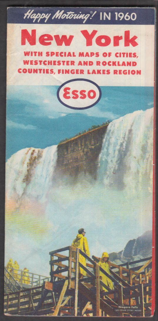 Esso Gasoline New York State Road Map 1960 w/ NYC Westchester & Rockland Cty +