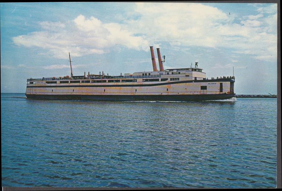 Auto-Passenger Ferry Del-Mar-Va to/from Kiptopeke Beach big postcard 1950s