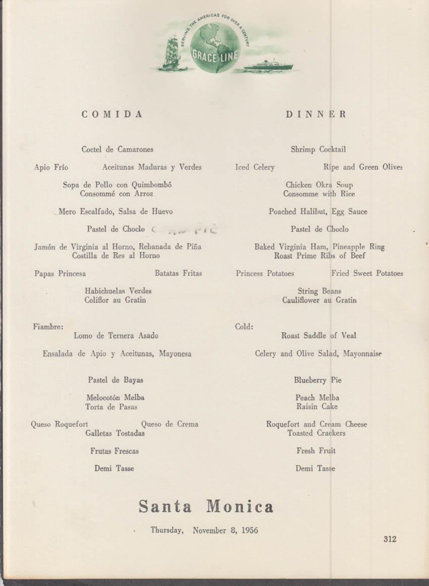 Grace Line S S Santa Monica Dinner Menu Card 11/8 1956