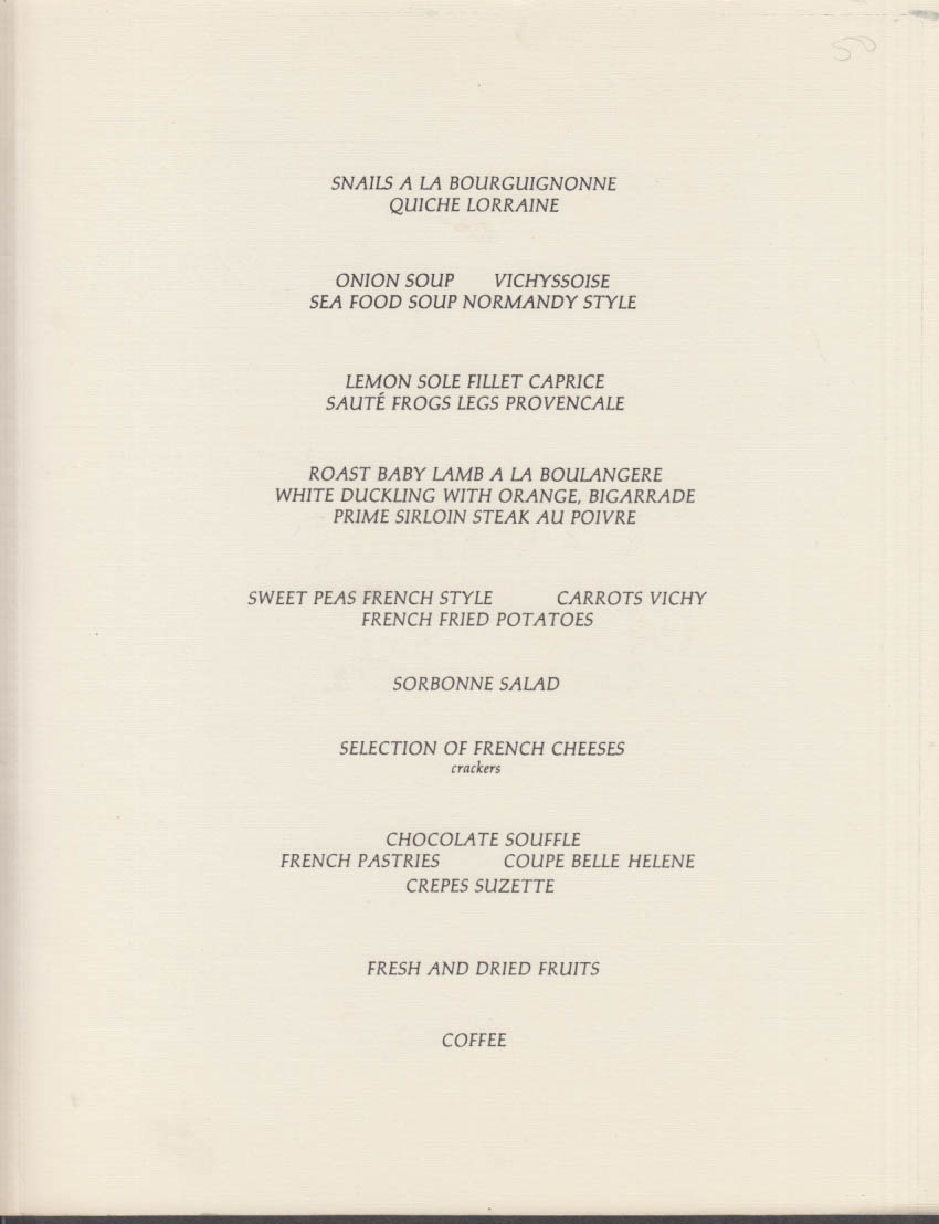M V Sun Princess French Dinner Menu 1976 Princess Adelaide D'Orleans 1789