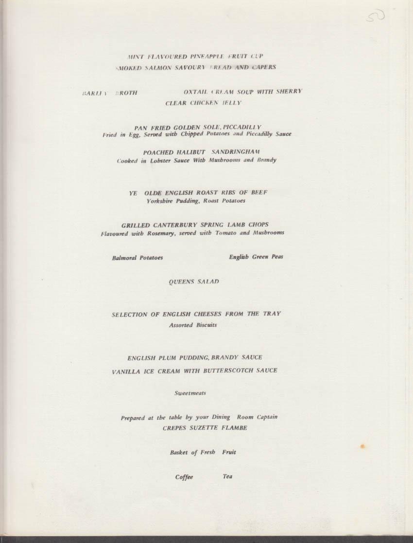 M V Sun Princess Olde England Dinner Menu 6/23 1976 Princess Pocahontas 1616