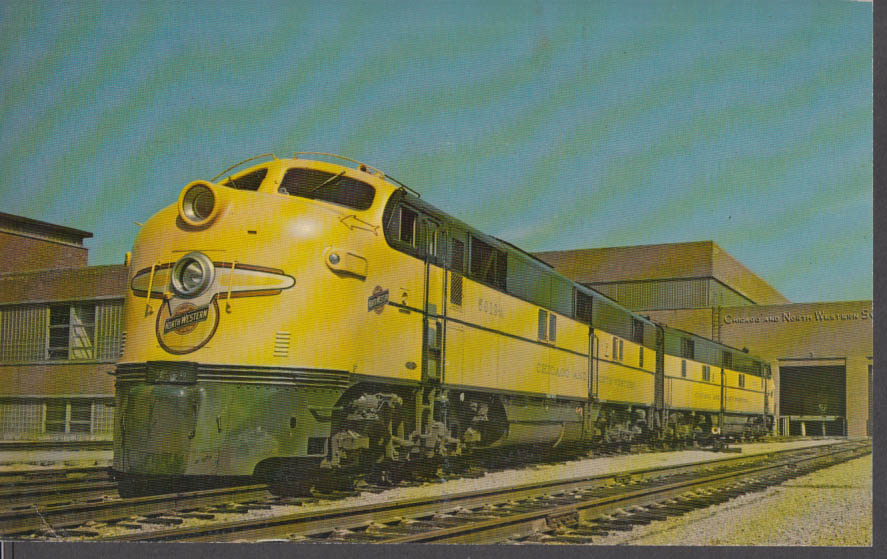 Chicago & North Western Railway EMD E-7 5019 A-B in Chicago card 1950s 1971