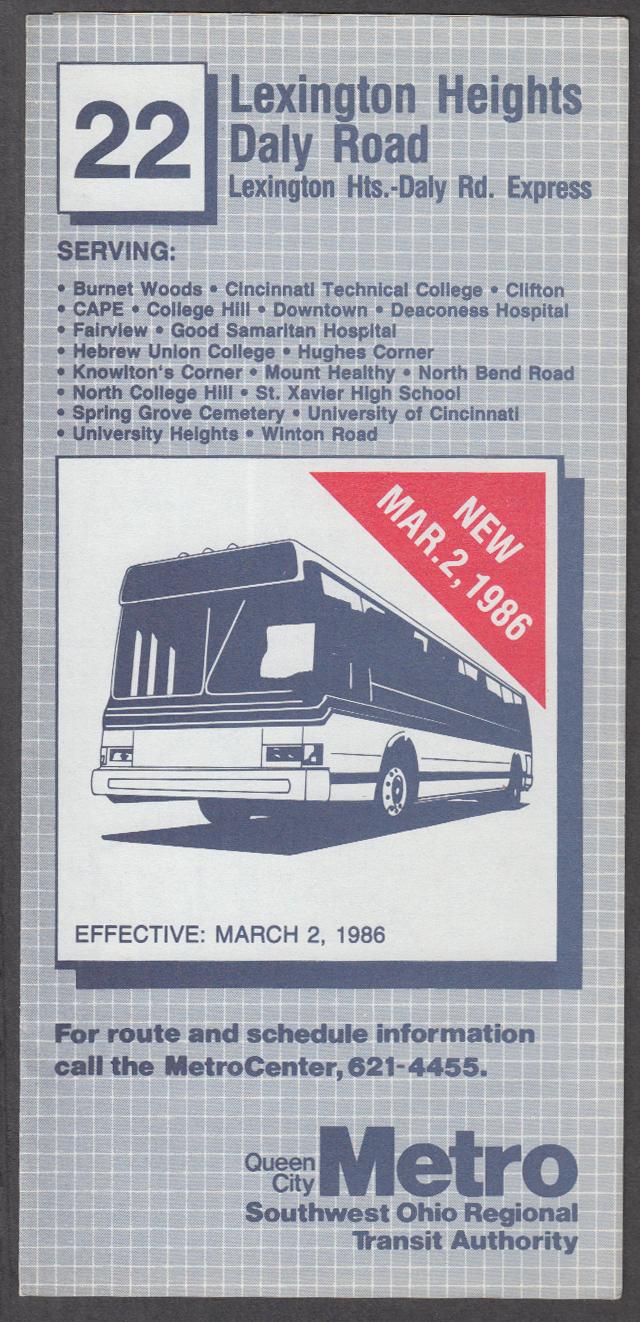 Queen City Metro Sw Ohio Transit Bus Schedule  1986 Lexington Hts