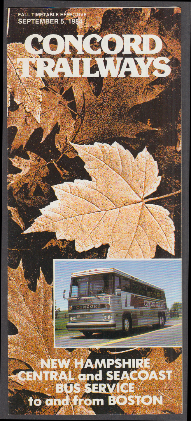 Concord Trailways Bus Schedule 9 5 1984 NH Central