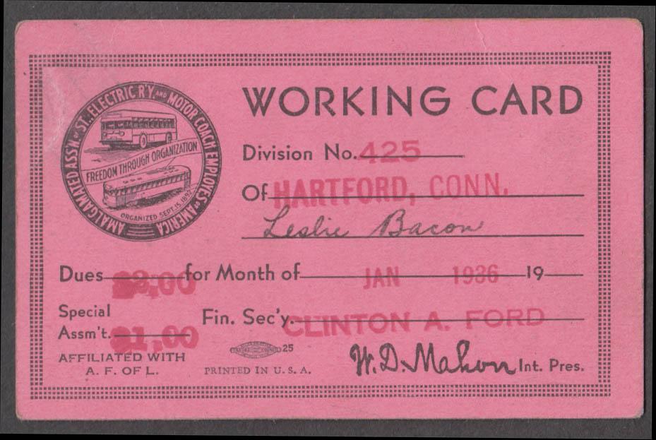 Amalgamated Street Railway Motor Coach Employees Working Card Hartford CT 1/1936