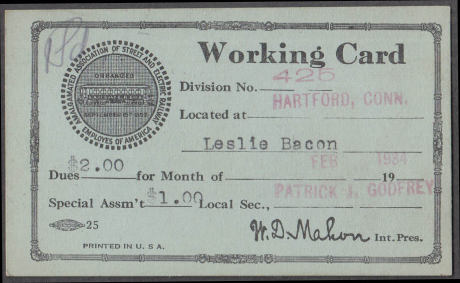 Amalgamated Street Railway Motor Coach Employees Working Card Hartford CT 2/1934
