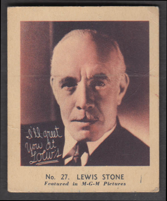 Ridley's Funny Film Faces Screen Snappie #27 Lewis Stone card 1933
