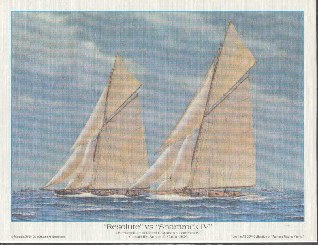 1920 America's Cup Resolute v Shamrock IV Automatic Switch print 1988