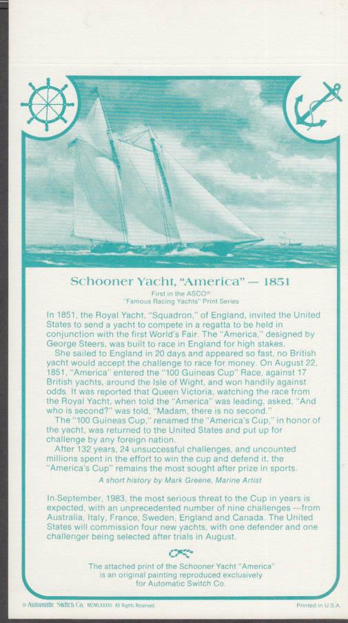 1851 America's Cup Schooner America Automatic Switch print 1988