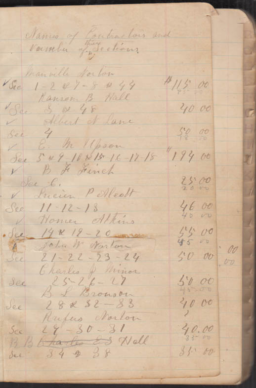 Wolcott Highway Contractor record section by section handwritten ca 1850s CT